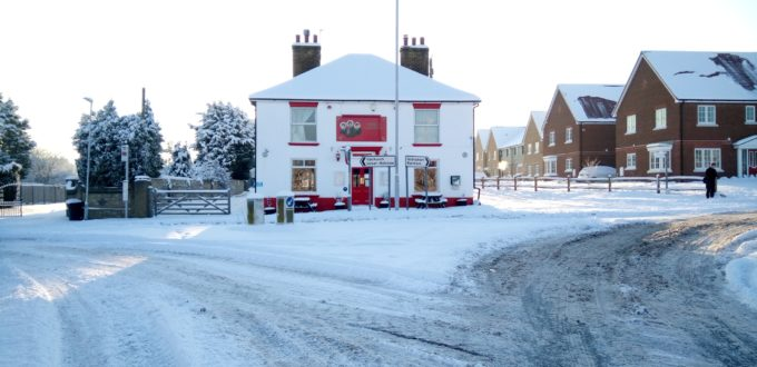 Winter at the Three Sisters Pub in Rainham, Kent